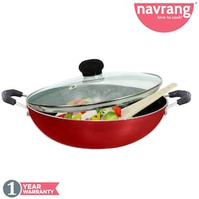 Navrang Non Stick Aluminium Kadai Medium with Glass Lid;240mm;Red