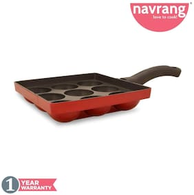 Navrang Non Stick Aluminium Appakara 9 Kulies With Handle;Red