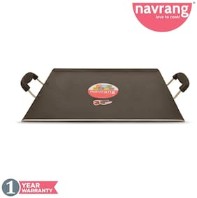 Navrang Non Stick Aluminium Rectangle Patri Tawa 330mm;Black Hammer Tone