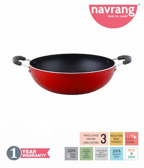 Navrang Non Stick Aluminium Kadai Induction Friendly;240mm;Red
