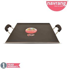 Navrang Non Stick Aluminium Square Patri Tawa 330mm;Black Hammer Tone