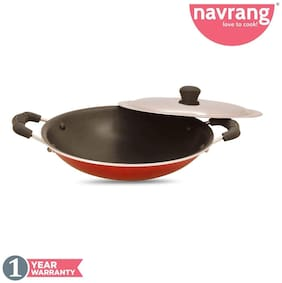 Navrang Non Stick Aluminium Appachetty With SS Lid;235 mm;Red