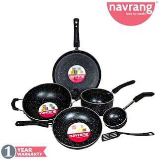 Navrang Nonstick 6 pcs Combo Set Tawa 275;Kadai 230;Fry Pan 200;Sauce Pan Large;Tadka Pan;Spatula