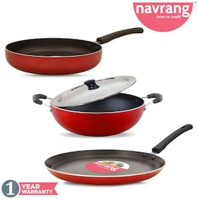 Navrang Nonstick 3 pcs Combo Set Kadai 23 cm, Tawa 27 cm, Fry Pan 23 cm with Stainless Steel Lid