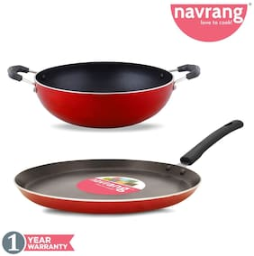 Navrang Nonstick Aluminum Cookware Set;Tawa 27.5 cm diameter + Kadai 23 cm diameter Red - Set of 2