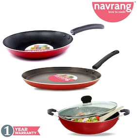 Navrang Nonstick 4 pcs combo Set Tawa 275;Kadai 240;Fry Pan 240 with Glass Lid
