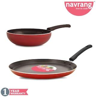Navrang Nonstick Aluminium 2 Pc Cookware Set;Tawa 260 + Fry Pan 200 mm;Red
