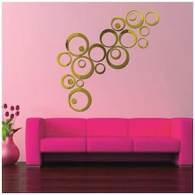 NAWAB Acrylic 3D Bright Circle GOLDEN Home and Office Decor Wall Sticker-PACK OF 10