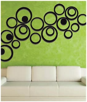 NAWAB Acrylic 3D Bright Circle BLACK Home and Office Decor Wall Sticker-PACK OF 10