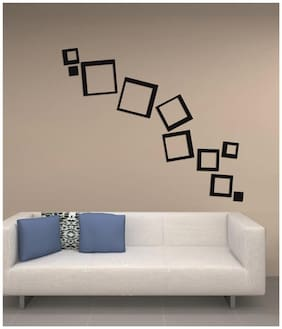 NAWAB Acrylic 3D Bright Square BLACK Home and Office Decor Wall Sticker-PACK OF 12