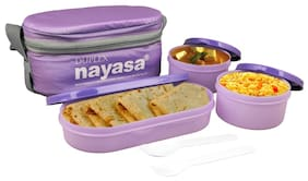NAYASA 3 Containers Plastic Lunch Box - Purple