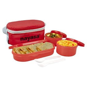 NAYASA 3 Containers Plastic Lunch Box - Red
