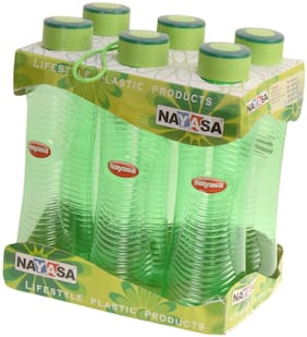 NAYASA 1000 ml Plastic Green Fridge bottles - Set of 6
