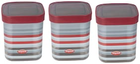NAYASA Fusion Deluxe Plastic Grocery Container Set of 3 ( 1000 ml , Maroon )