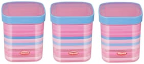 NAYASA Fusion Deluxe Plastic Grocery Container Set of 3 ( 1000 ml , Pink )