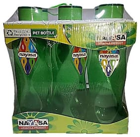 NAYASA 1000 ml Plastic Green Water Bottles - Set of 6
