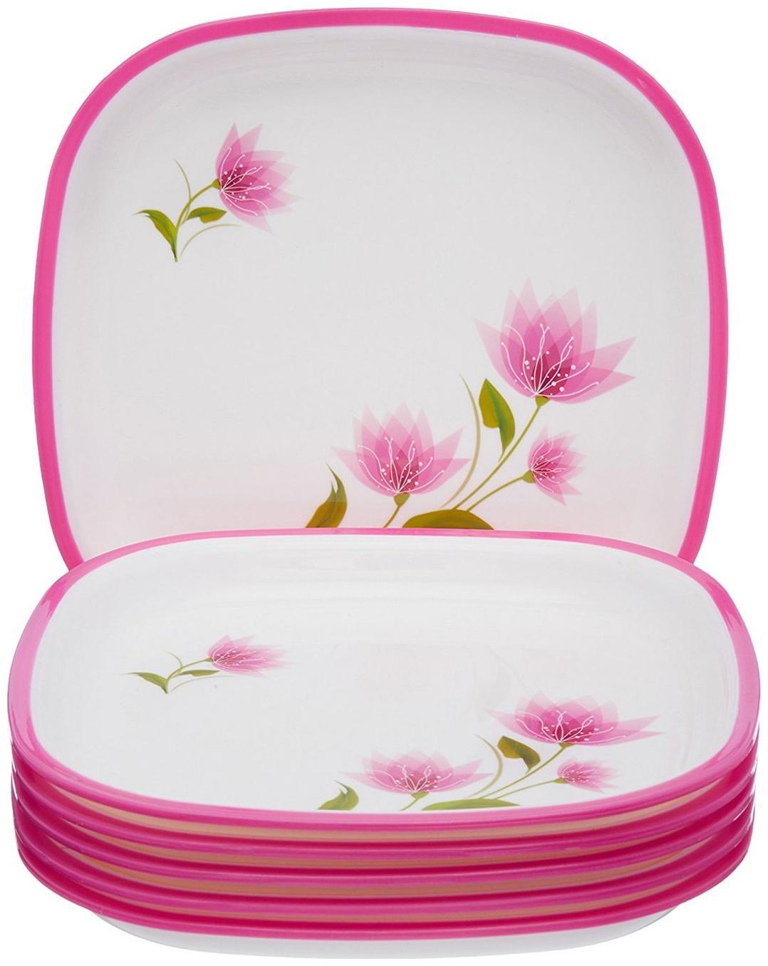 Nayasa Square Quarter Plate Set;Set of 6;Pink