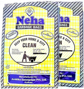 Neha Biodegradable Garbage Bags (Extra Large) Size 28 Inch X 36 Inch 2 Packs (32 Bags)