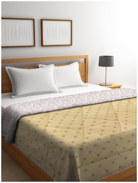 Neudis By Dhrohar Soft Double Bed Reversible Microfibre Printed Comforter For Ac Room - 300 Gsm - Yellow