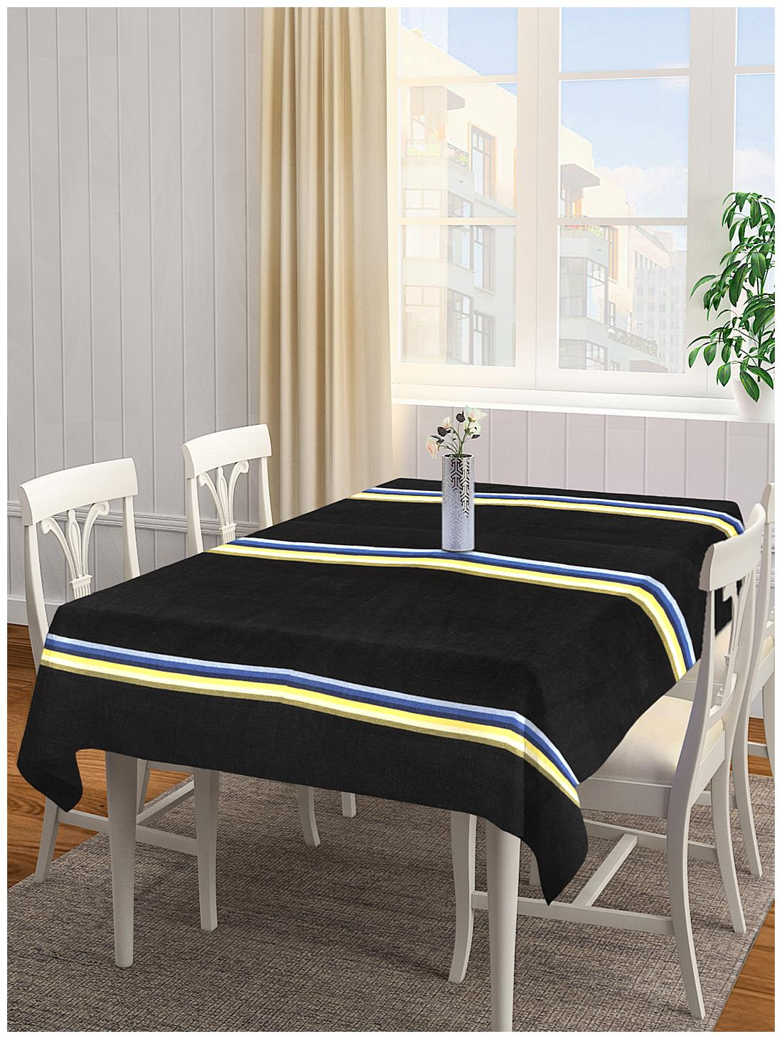 NEUDIS by Dhrohar Premium Cotton Striped Table Cover For 6 Seater Table