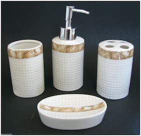 NEW 4 PC CERAMIC WHITE+BEIGE FLORAL SOAP DISPENSER+DISH+TUMBLER+TOOTHBRUSH+BOX