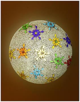 New Design Glass Round Ceiling Lamp Hand Decorative With Coorful Chips & Beads-92