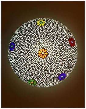 New Design Glass Round Ceiling Lamp Hand Decorative With Coorful Chips & Beads-86
