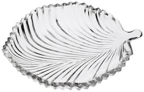 Somil New Design Leave Shape Glass Plate (Microwave Safe)