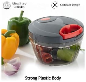 New Handy Chopper, Vegetable Cutter and Chilly Cutter Chopper, 3 Stainless Steel Blade System (650 ml, 1 Piece, Grey)