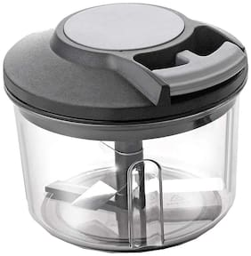 New Handy Chopper, Vegetable Cutter and Chilly Cutter Chopper, 3 Stainless Steel Blade System (750 ml, 1 Piece, Black)