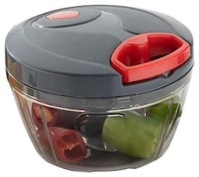 New Handy Chopper, Vegetable Cutter and Chilly Cutter Chopper, 3 Stainless Steel Blade System (Black and Red)