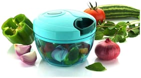 New Handy Mini Plastic Chopper with 3 Blades, Plastic Quick Cutter, Vegetable Cutter, Handy Chopper, Green