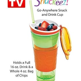 NEW Snackeez Plastic 2 in 1 Snack & Drink Cup One Cup Assorted Colors