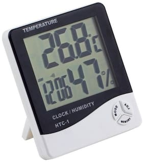 New Temperature Humidity Time Display Meter with Alarm Clock, Wall Mount or Table Top (1Pc) Assorted Color