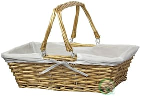 New Vintiquewise Rectangular Willow Basket with White Fabric Lining, QI003062