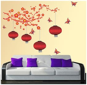 New Way Decals-Wall Sticker (7571) ''Italian Red Lamp With Beautiful Butterflies''