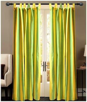 NEWLADIESZONE Green And Yellow Window Curtain-Set Of 2