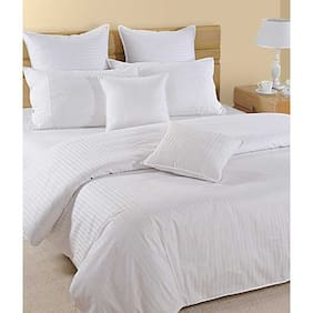 NewLadiesZone Cotton Solid King Size Bedsheet ( 1 Bedsheet With 2 Pillow Covers , White )
