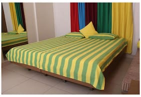 NewLadiesZone Green Yellow Stripe Double Bed Spread With 2 Pillow Cover 100% cotton