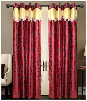 NEWLADIESZONE Maroon And Cream Window Curtain-Set Of 2