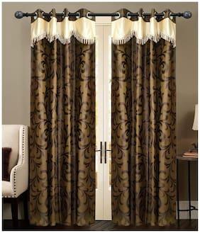 NewLadiesZone Set Of 2 Pc brown flower Window Curtain