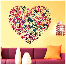 New Way Decals Wall Sticker Beautiful Heart Floral