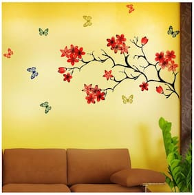 NewWayDecals wall sticker Chinese Flowers with Butterfly