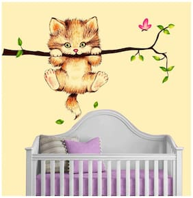 New Way Decals Wall Sticker Cute Angry Cat With Branch