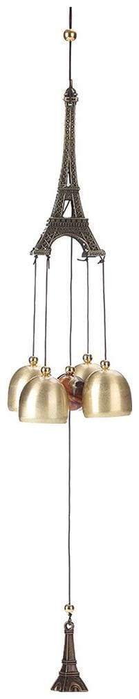Ngt Online Brass Eiffel Tower 4 Bell Wind Chime (Length 58.42 cm (23 inch) Approx)