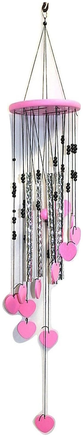 Ngt Online Big Pink Heart Shape 5 Long Pipe Big Wind Chime (Length 45 inch Approx)