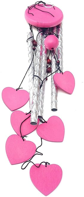 Ngt Online Pink Heart 4 Pipe Wind Chime (Length 78.74 cm (31 inch) Approx)