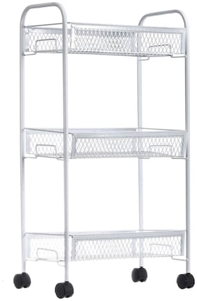 NHR Premium 3 Tier Multipurpose Collapsible, Foldable Metal Storage Organizer, Rack, Trolley, cart for Kitchen, Bathroom and Office with Wheel