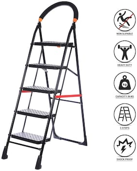 NHR Premium heavy steel 5 Step Foldable;Anti Skid;Ladder;lader;stairs;step stool for home and Office Use Safety Clutch Lock