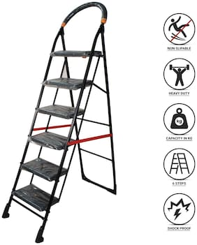 NHR Premium heavy steel 6 Step Foldable;Anti Skid;Ladder;lader;stairs;step stool for home and Office Use Safety Clutch Lock